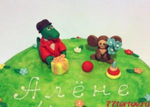 Фигурки крокодила Гены и Чебурашки из мастики для торта