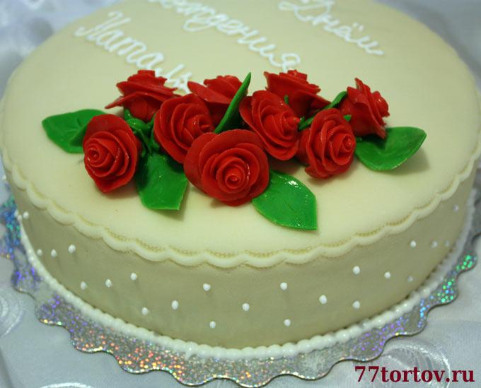 торт с мастики с розами фото