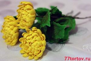Хризантемы из мастики жёлтые