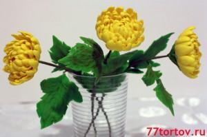 Хризантемы из мастики - букет