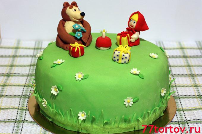 Торт мастичный Маша и Медведь