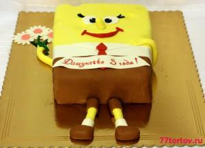 Торт Спанч Боб с цветком