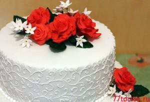 Торт с розами - 2 яруса