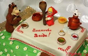 Торт Маша и Медведь - чай с вареньем