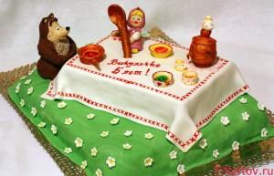 Торт Маша и медведь пьют чай
