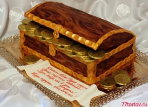 Торт в виде сундука на детский день рождения