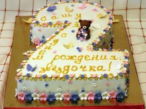 Торт с цифрой 2 с мишкой