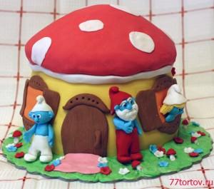 Торт в виде домика смурфиков