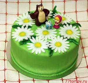 Торт Маша и Медведь на поляне с ромашками