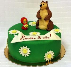 Торт Маша и Медведь с ромашками