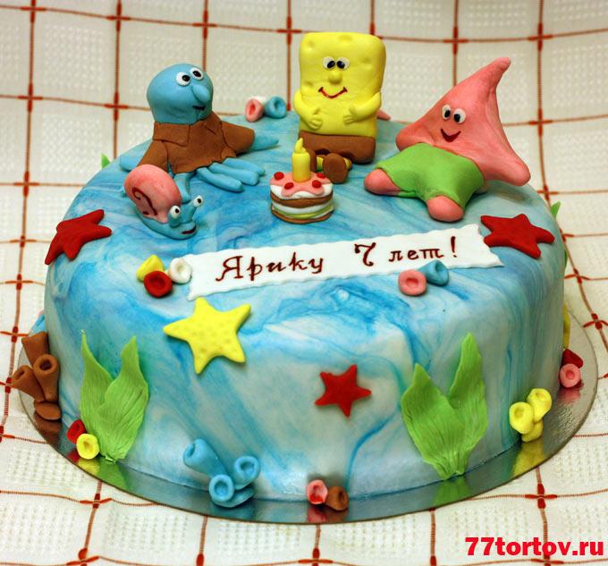 Торт Спанч Боб с друзьями