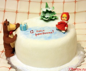 Торт Маша и медведь на катке