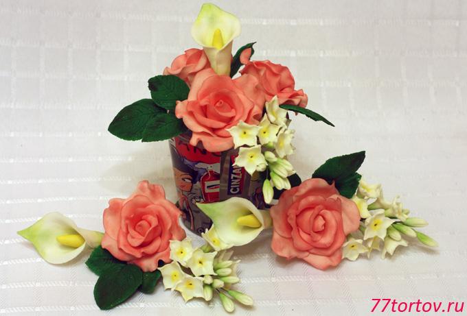 Цветочные букеты из мастики для украшения торта