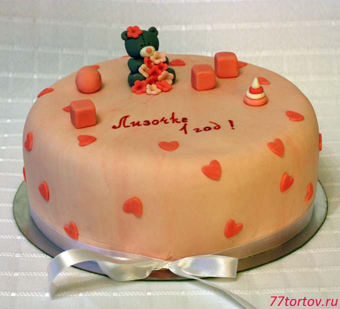 Торт с сердечками и мишкой