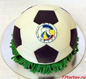Торт в виде футбольного мяча с эмблемой ФК Ростов