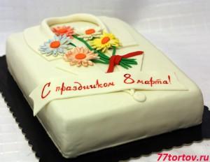 Торт в виде медицинского халата с цветами