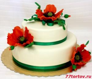Торт двухъярусный с маками