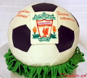 Торт мяч с эмблемой Ливерпуля