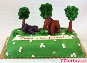 Торт с лошадями