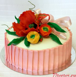 Торт с маком и лютиками