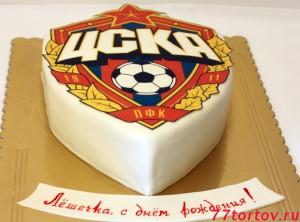 Домашний торт в виде эмблемы футбольного клуба ЦСКА