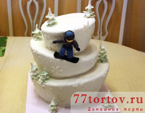 Торт для сноубордиста неправильной формы