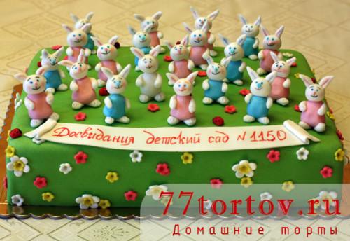 Торт с зайчиками для детского сада