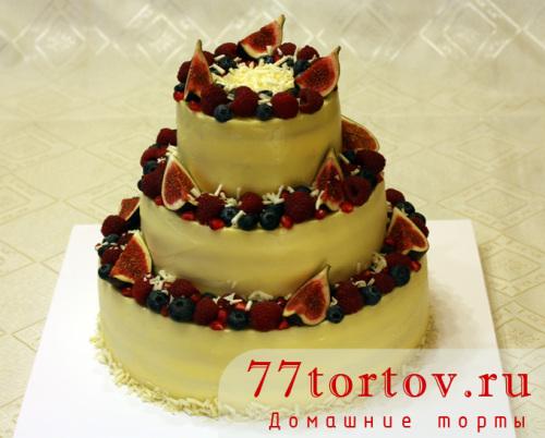 Торт трёхъярусный на юбилей