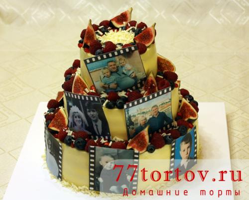 Торт трёхъярусный на юбилей с фото