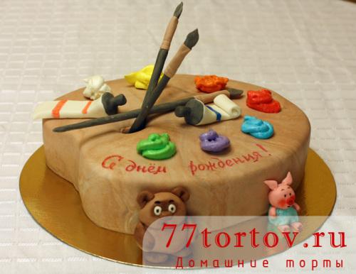 Торт в виде палитры с красками