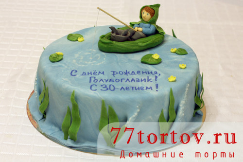 Торт с рыбаком в лодке
