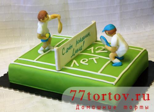 Торт в виде теннисного корта