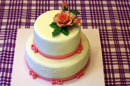 Двухъярусный торт на день рождения для девушки