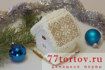 Снежный пряничный домик